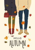 Ciao Autumn Card vettore