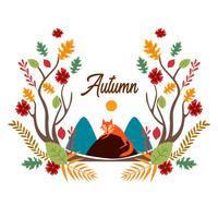 Cartone Animato Volpe Con Foglie D'autunno