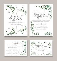 Gli inviti di nozze salvano il design della data card con l'elegante anemone da giardino. vettore
