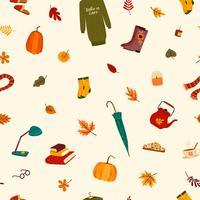 Modello senza cuciture con cose carine e foglie di autunno.