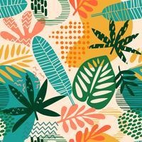 Modello senza cuciture astratto con foglie tropicali vettore