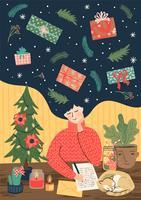 Carta natale e felice anno nuovo