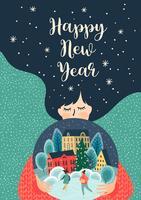 Carta dell'illustrazione del buon anno vettore