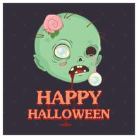 Illustrazione della testa dello zombie con testo vettore