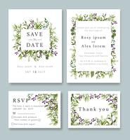 Gli inviti di nozze salvano il design della data card con l'elegante anemone da giardino.