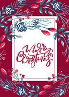 Buon Natale calligrafico lettering scritta a mano vettore