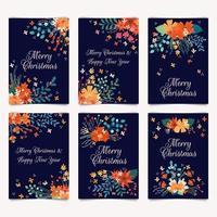 Buon Natale e Felice Anno Nuovo carte con mazzi di fiori vettore