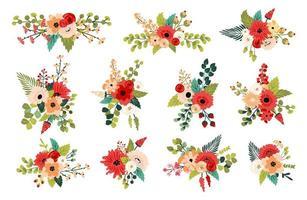 Composizioni floreali primaverili decorative vettore