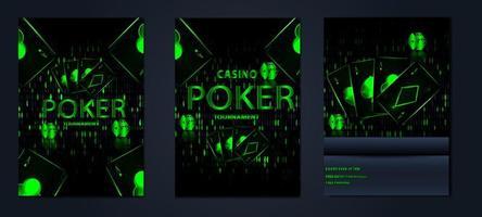set di carte torneo di casinò casinò poster vettore