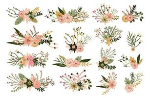 Elementi floreali disegnati a mano d'epoca vettore