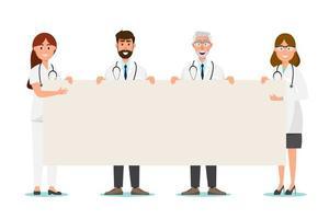 Set di personaggio dei cartoni animati medico con spazio di copia