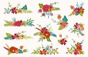 Mazzi di fiori primaverili, composizioni floreali vettore