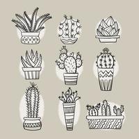 Scarabocchi disegnati a mano di cactus e piante grasse