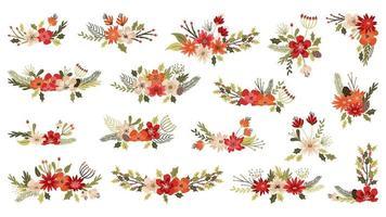 Composizioni floreali natalizie e invernali vettore