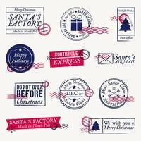 Timbri postali di Natale e Babbo Natale, francobolli vettore