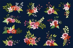 Composizioni floreali su sfondo scuro vettore