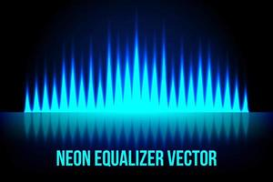 Musica al neon equalizzatore sfondo scuro vettore