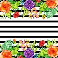 Sfondo floreale striscia nera