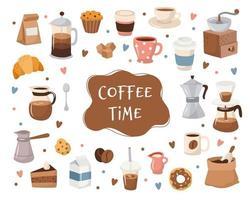 Collezione caffè, diversi elementi caffè con scritte. vettore