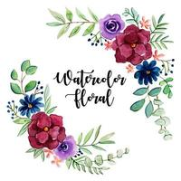 Collezione floreale e foglie dell'acquerello
