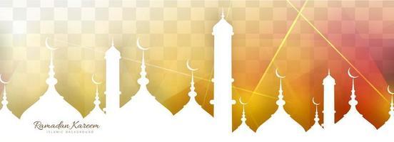 Modello di tramonto dell'insegna del Ramadan Kareem vettore
