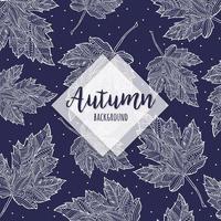 Fondo disegnato a mano blu e bianco delle foglie cadenti