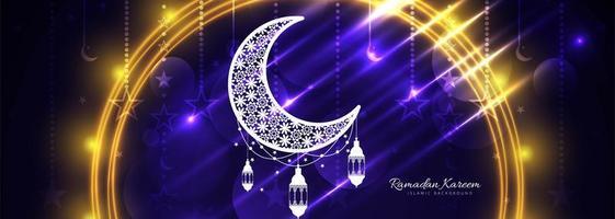 modello di sparkle banner ramadan kareem