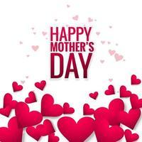 Felice festa della mamma bella carta cuore amore sfondo vettore