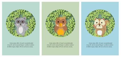 Set di carte animali vettore