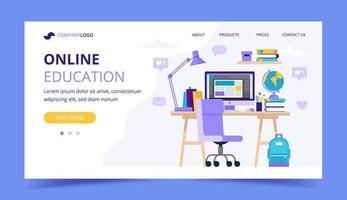 Pagina di destinazione dell'istruzione online con una scrivania per studenti