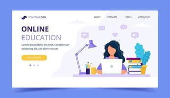 Pagina di destinazione dell'istruzione online con una ragazza che studia con il computer vettore