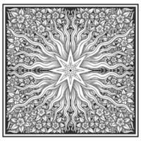 Motivo floreale e stellato effetto legno intagliato