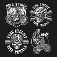 Set di disegni vintage in bicicletta vettore