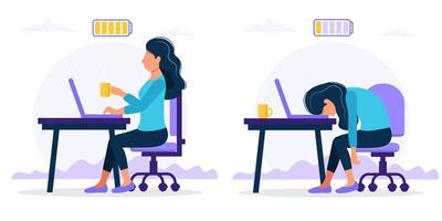 Illustrazione di concetto di burnout con femmina felice ed esausta
