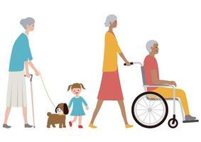 Insieme di anziani su uno sfondo bianco.