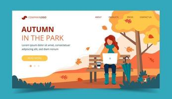 Ragazza con il computer portatile che si siede sul banco in autunno. Modello di pagina di destinazione