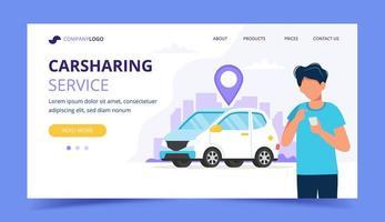 Concetto di car sharing. Uomo con lo smartphone. Modello di pagina di destinazione