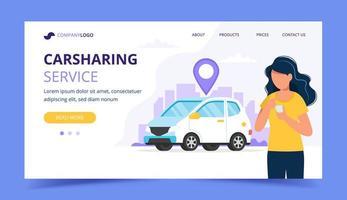 Concetto di car sharing. Donna con smartphone. Modello di pagina di destinazione