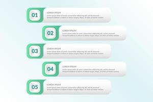 elenco Progettazione infografica con 5 elenchi per il concetto di business