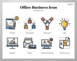 Icone di affari dell'ufficio Linea pacchetto di colore
