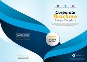 Modello di brochure blu con disegno dell'onda vettore