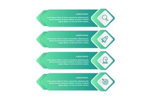 Progettazione infografica con 4 icone opzioni o passaggi vettore