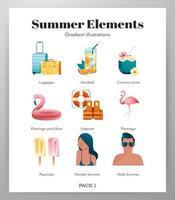 Pack di icone elementi estivi vettore