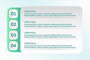 elenco Progettazione infografica con 4 elenchi per il concetto di business