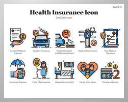 Icone di assicurazione sanitaria Line Pack di colore