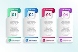 elenco Progettazione infografica con 4 elenchi per il concetto di business vettore