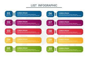 elenco design infografico con sfondo di mappa del mondo