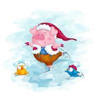 maialino in un cappello di Natale pattinaggio su ghiaccio vettore