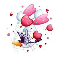 Uccello divertente con una farfalla cravatta vola con un mazzo di palloncini vettore