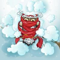 Gufo con cappello rosso sciarpa ubicazione sul ramo nevoso vettore